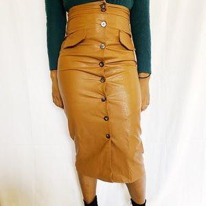 Brown vegan midi leather skirt